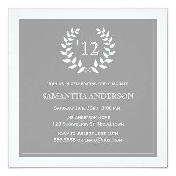 Formal Wreath Year Graduation Invitation - Grey