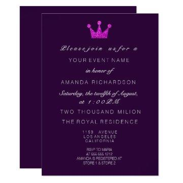 Fuchsia Purple PinkCrown Royal Glitter 16th Bridal Invitation