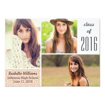 Fun Peach Polka Dot 2017 Graduation Photo Collage Card