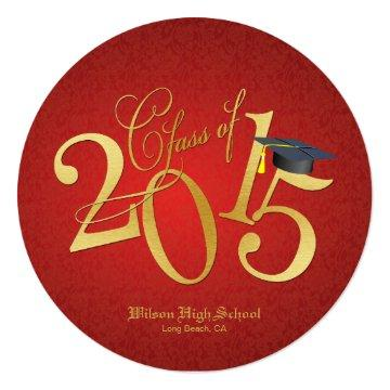 Funky Gold Class of 2015 Round Graduation Card