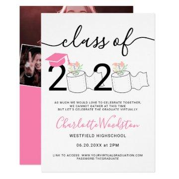 Funny 2020 toilet roll photos virtual graduation invitation