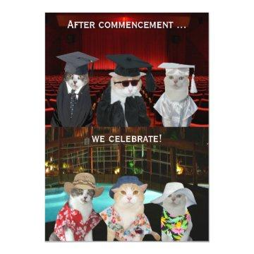 Funny Cats Customizable Graduation Party Invite