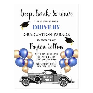 Funny Class of 2020  DRIVE BY Graduation Party Postcard