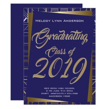 Gatsby Grad Party Gold Blue CHOOSE SCHOOL COLOR Invitation