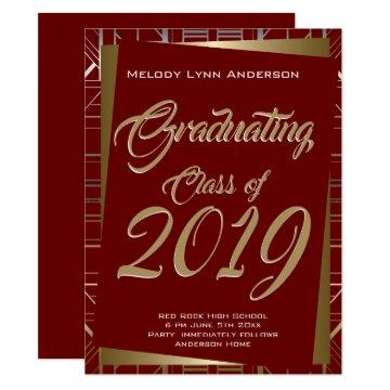 Gatsby Grad Party Gold Red CHOOSE SCHOOL COLOR Invitation