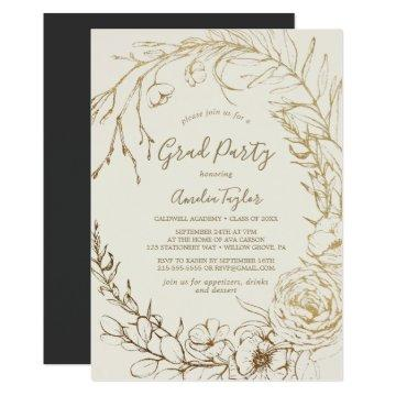 Gilded Floral Cream & Gold Wreath Graduation Party Invitation