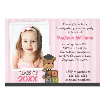 Girl Photo Graduation Bear Pink Stripes Card