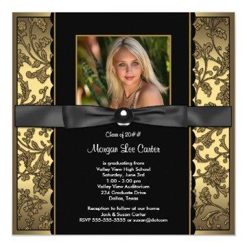 Girls Black and Gold Photo Graduation Card