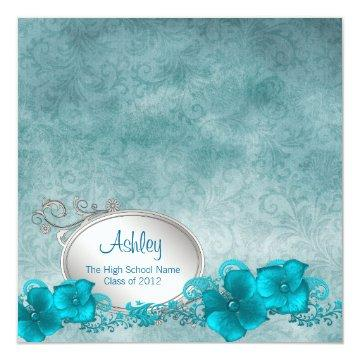 Girls Teal Blue Damask Graduation Announcements
