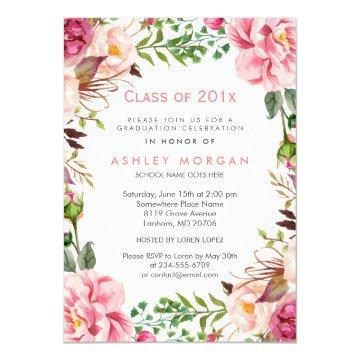 Girly Floral Chic Class of 2018 Graduation Party Invitation