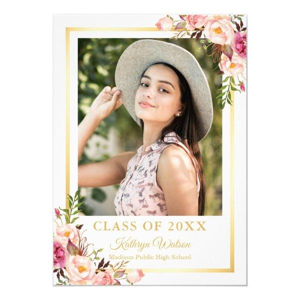 Girly Rustic Floral Gold Photo Graduation Party Card