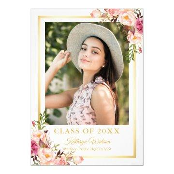 Girly Rustic Floral Gold Photo Graduation Party