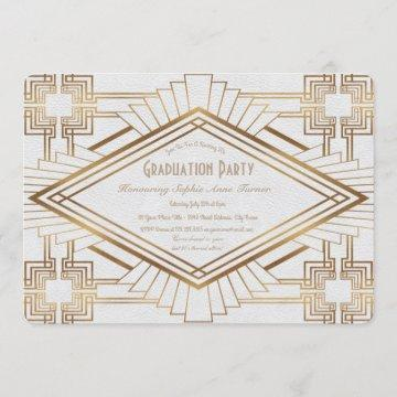 Glam Gold and White Great Gatsby Graduation Party Invitation