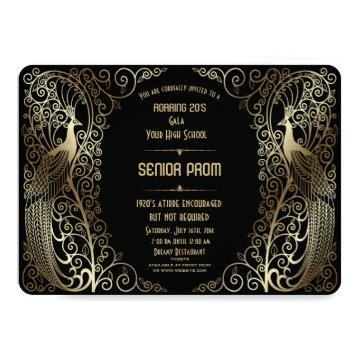 Glam Gold Art Deco Peacocks Senior Prom Invite