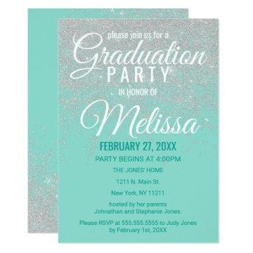 Glam White Glitter Sparkles Teal Graduation Party Card