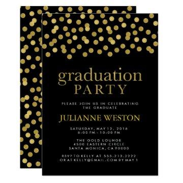 Glitter Gold and Black Confetti Graduation Party Card