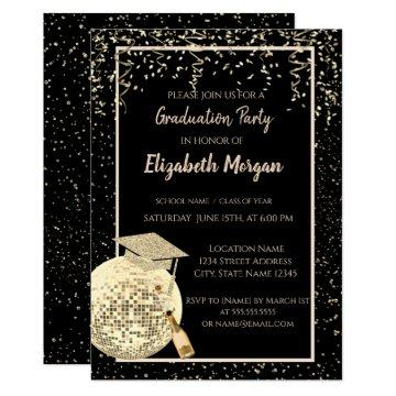 Glitter Graduation Cap,Disco Ball Confetti, Wine Invitation