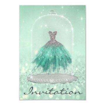 Glitter Mint Green TiffanyDiamond Dress Sweet 16th Invitation