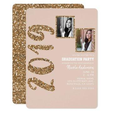 Glitter Rose Gold Blush Glam 2019 Graduation PHOTO Invitation