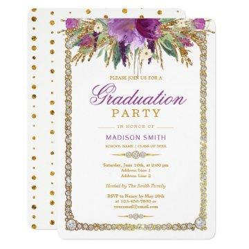 Glitter Watercolor Flowers Bling Grad Party Card