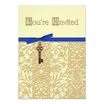 Gold 3D Damask with Key Charm and Bow Invite