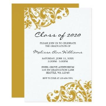 Gold and Black Swirl Graduation Announcement