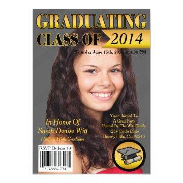 Gold & Black Graduating Class Magazine Cover Invitation