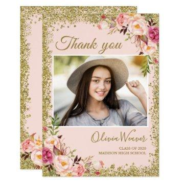 Gold Blush Pink Floral Photo Graduation Thank You Invitation