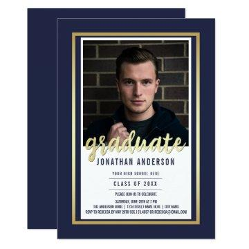 Gold Border & Script on Blue | Photo Graduation Invitation