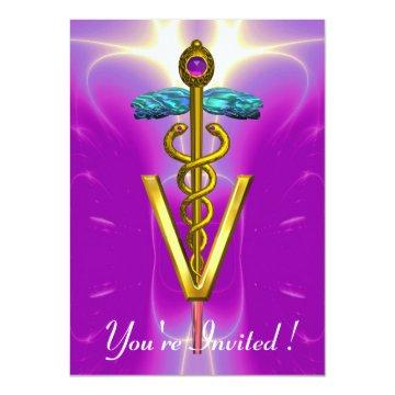GOLD CADUCEUS VETERINARY SYMBOL Pink Fuchsia Card