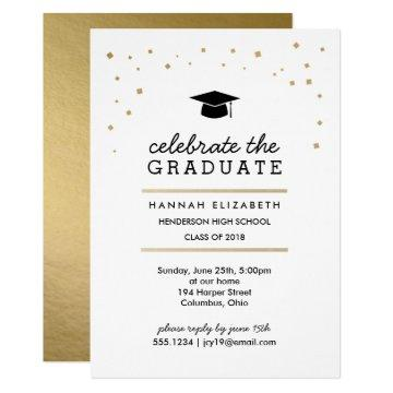 Gold Confetti and Cap Modern Graduation Invitation