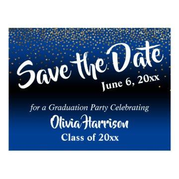 Gold Confetti Bright Blue Graduation Save the Date Postcard