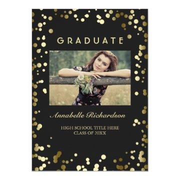 Gold Confetti Dots Black Elegant Photo Graduation Invitation