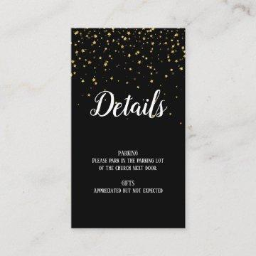 Gold Confetti on Black Graduation Details Insert