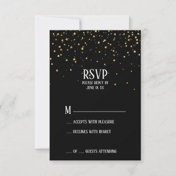 Gold Confetti on Black Graduation Party RSVP Card
