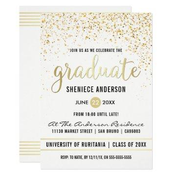 Gold Confetti & Script on White | Graduation Party Card