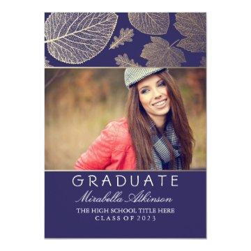 Gold Fall Photo Graduation Party - Announcement
