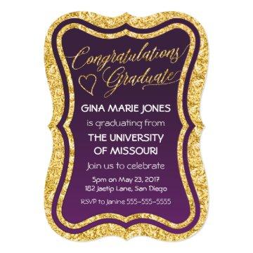 Gold Foil Congratulations Graduation Invitation