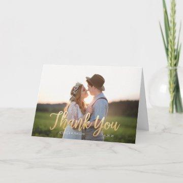 Gold Foil (Faux) Wedding Folded Thank You Card