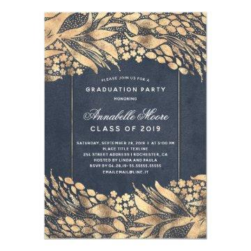 Gold Foliage Navy Blue Modern Graduation Party
