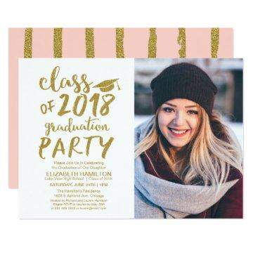 Gold Glitter Calligraphy Graduation Party Photo Card