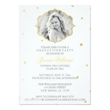 Gold Glitter Chevron Graduation | Grey Card