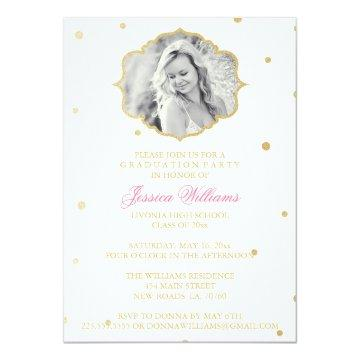 Gold Glitter Chevron Graduation | Pink Invitation