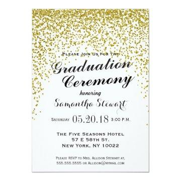 Gold Glitter Confetti Graduation Ceremony Invites