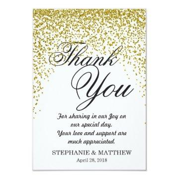 Gold Glitter Confetti Thank You Cards