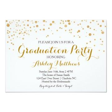 Gold Glitter Dots Graduation Party