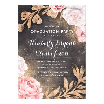 Gold Glitter Floral Rustic Country Graduation