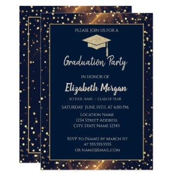 Gold Glitter Graduation Cap,Polka Dots,Navy Blue Invitation