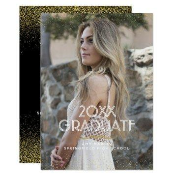 Gold Glitter Graduation Photo Announcement