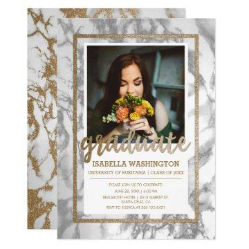 Gold Glitter Marble Script Photo Graduation Party Invitation
